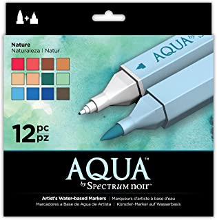 Spectrum Noir SPECN-AQ12-NAT Aqua Artist's Water Based Dual Nib Marker Coloring Pens, Nature, Pack of 12