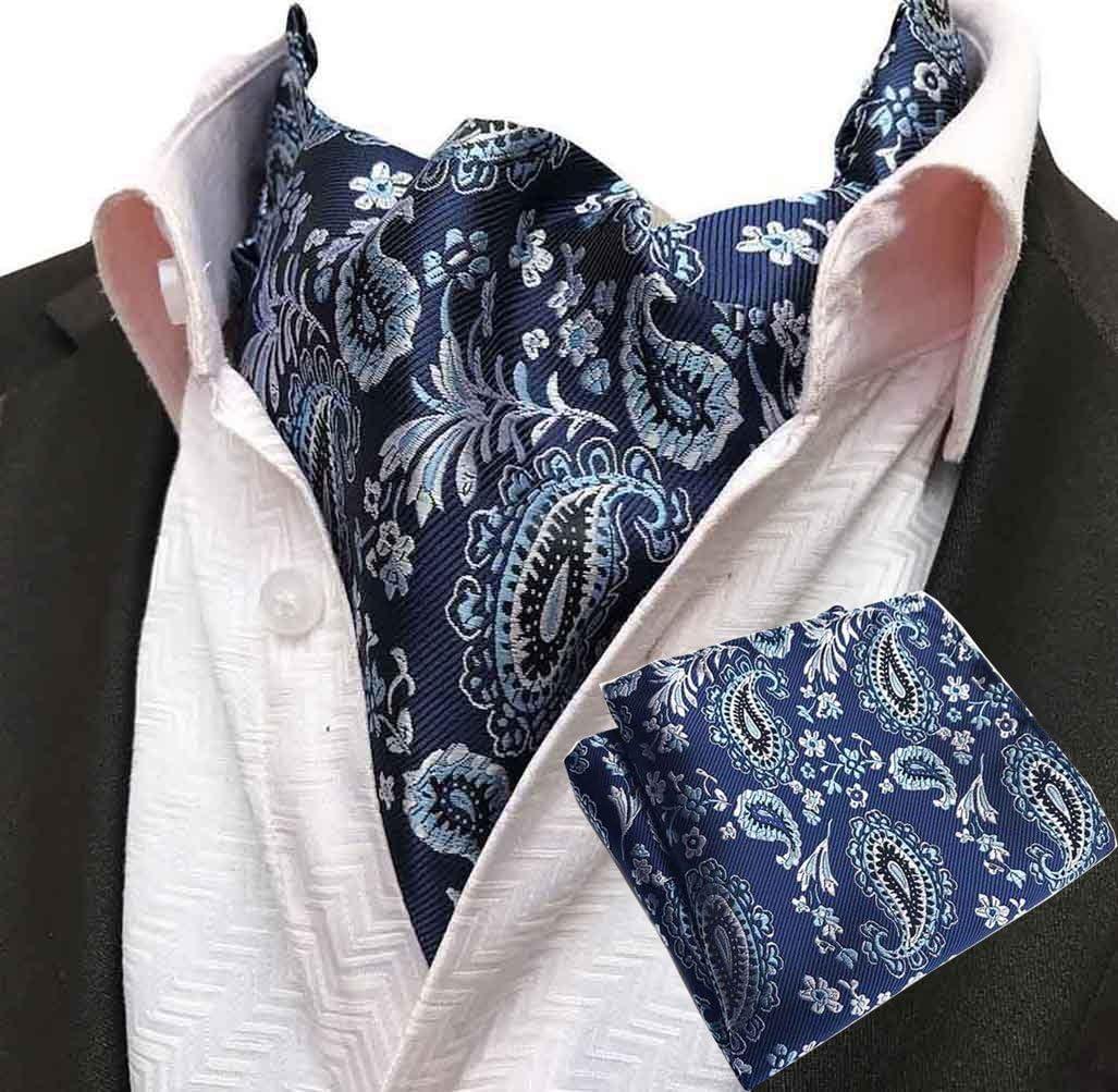 MOHSLEE Men Blue Floral Paisley Cravat Classic Ascot Tie Scarf Pocket Square Set