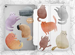 Cute Pastel Watercolor Cats Case For Apple iPad Mini 1 2 3 4 5 iPad Air 2 3 iPad Pro 9.7 10.5 11 12.9 inch iPad 9.7 inch 2017 2018 2019