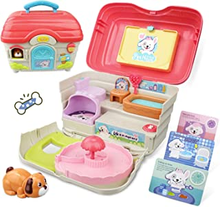 GrowthPic Dog Playset Toys for Kids, Dog Animals Toy with Carrier Puppy Toys Pretend Play Pet Toy with Realistic Sounds & Music, Play Dogs Educational Learning Toys Best for 3, 4, 5, and 6 Year Olds