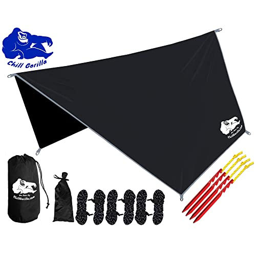 Chill Gorilla HEX Hammock Rain Fly Camping Tarp. Ripstop Nylon. Stakes, Ropes & Tensioners Included. Camping Gear & Accessories. Perfect Hammock Tent. Multiple Colors