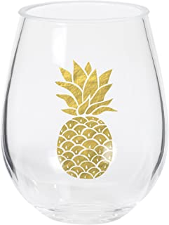 C.R. Gibson QWG2-20880 Double Stemless Wine, Gold Pineapple