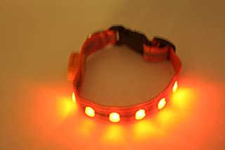 Wags Forever Deluxe Orange Dog Pet Collar 5 LED Light Strong Reflective Safety Night or Day