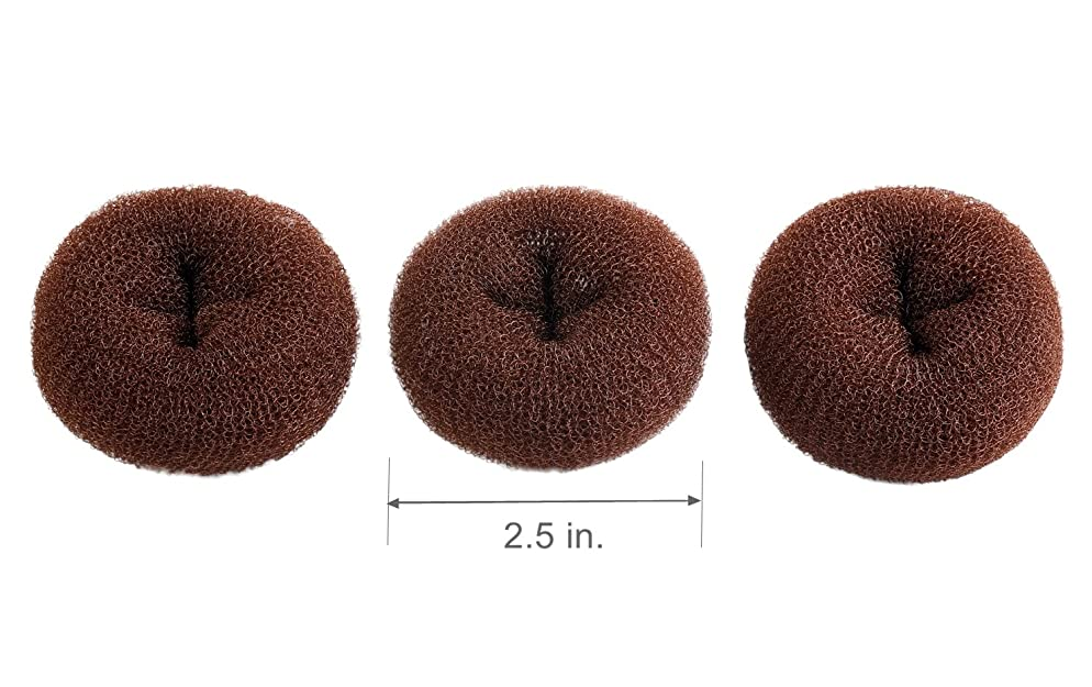 CLOTHOBEAUTY 3 pieces Extra Small Size Kids/Children Hair Bun Donut Maker, Ring Style Bun, Chignon Hair Donut Buns Maker, Hair Doughnut Shaper Hair Bun maker,for short and thin hair (2.5 in.) (Brown)