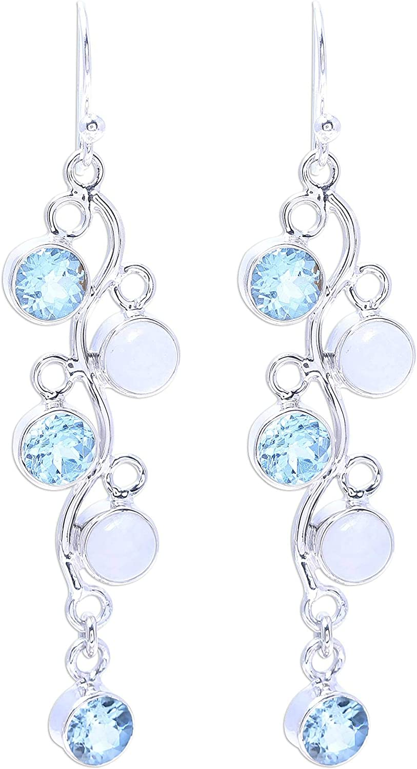 NOVICA Blue Ranking Super special price TOP3 Topaz and Rainbow Moonstone Silver Sterling .925 Dan
