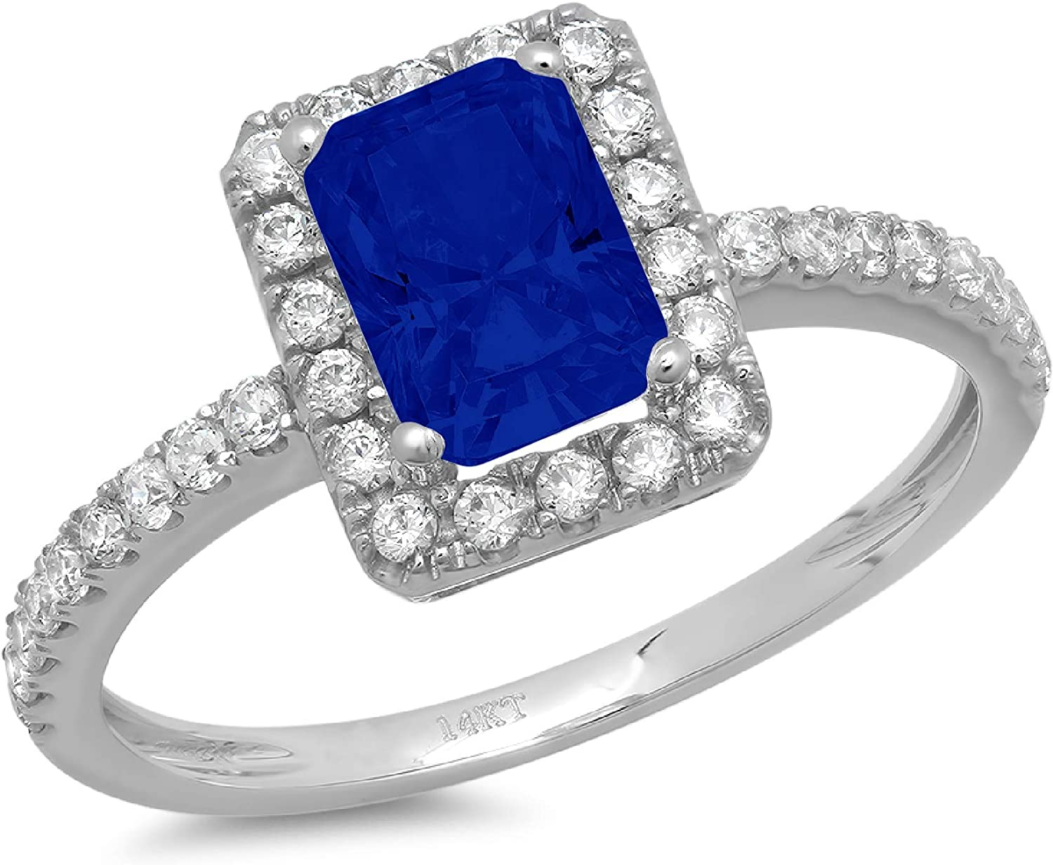 1.98ct Brilliant Emerald Cut Solitaire with Accent Halo Flawless Genuine Simulated Blue Sapphire Ideal Engagement Promise Anniversary Bridal Wedding Designer Ring 14k White Gold