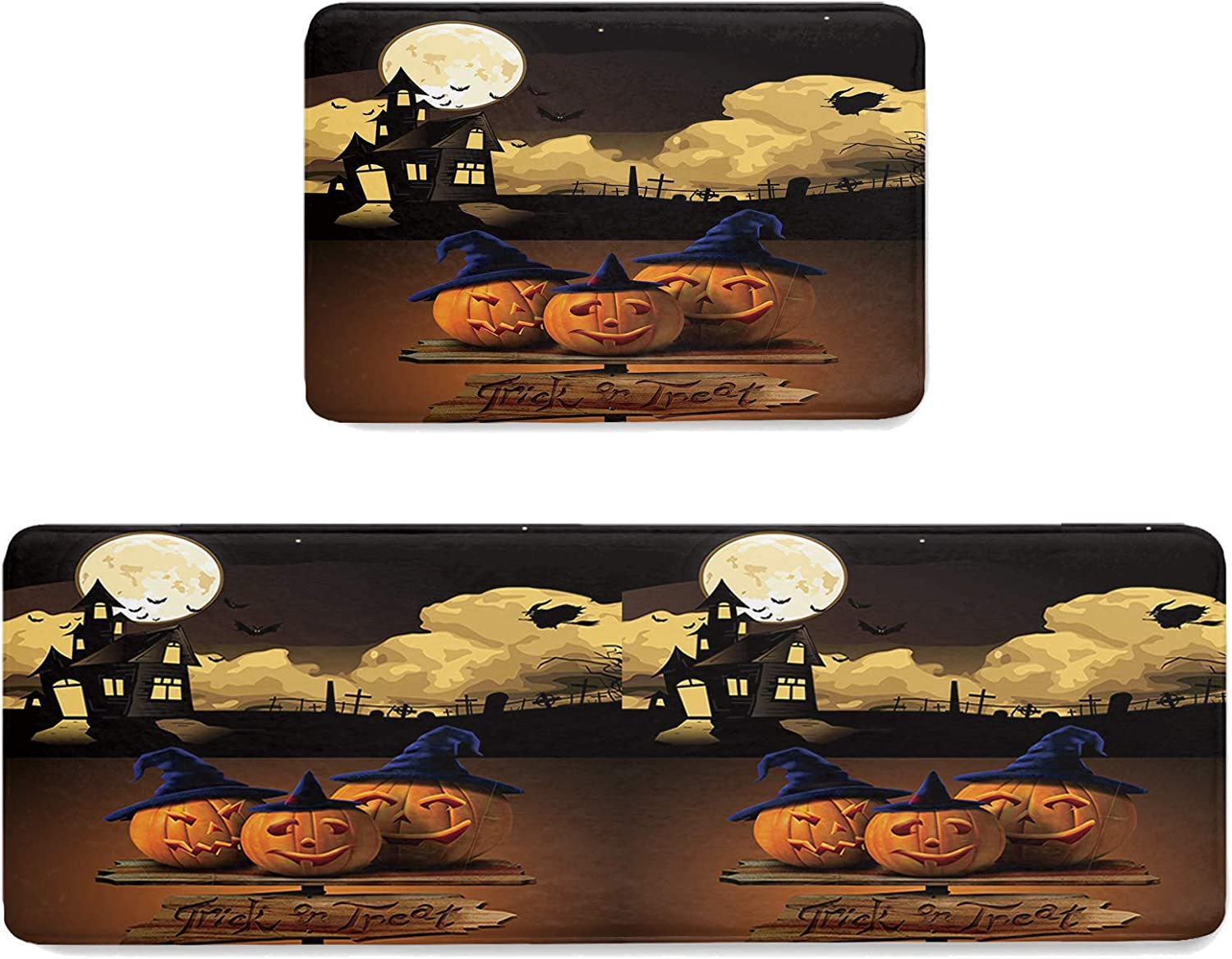 CyCoShower Product 2 Pieces Non-Slip Max 66% OFF Kitchen Set Halloween Mat Owl Theme