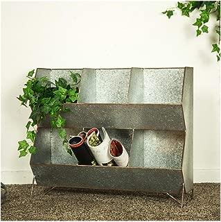 Glitzhome Galvanized Metal 6 Bins Organizer Standing Storage Shelf Home Decor