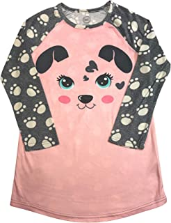 Long Sleeved Fleece Girls Nightgown Pajamas with Panda, Unicorn, and More Styles (Medium (7/8), Girly Panda)