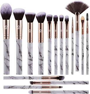 111 Makeup Brushes Set Premium Synthetic Foundation Powder Blush Blending Concealer Eye Shadow Brow Lash 16PCs Marble Make...