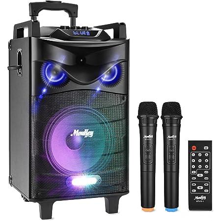 """Enceinte Sono Portable Haut-parleur Moukey Bluetooth Sonorisation 200 Watt Karaoké Système Enceinte sonorisation PA système avec DJ Eclairage 2 Micros VHF Radio MP3/USB/TF/FM la pour fête 12"""" MTs12-1"""