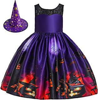 Kids Girls Halloween Costume Dress w/Witch Hat Ghost Pumpkin Skull Printed Fancy Dress Up Cosplay Party Outfits