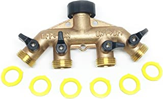 4 Way Water Shut Off Valve by the World's Best Brass Hose Nozzles, Solid Brass Hose Splitter Rust And Corrosion Resistant, Connect Multiple Garden Hoses And Sprinklers To Faucet
