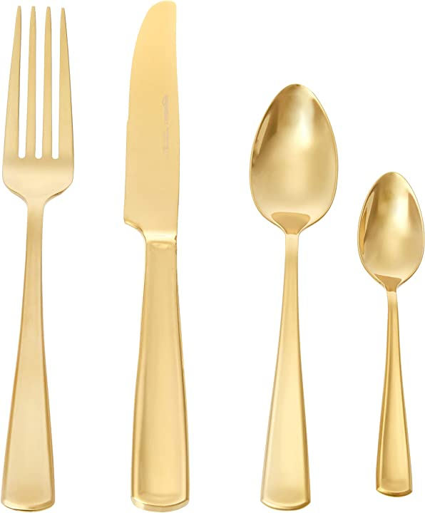 Servizio di 24 posate per 6 persone, stile moderno, colore: oro amazon basics 2697B-golden