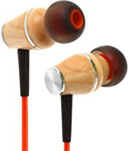 Symphonized XTC 2.0 Earbuds with Mic, Premium Genuine Wood Stereo Earphones, Hand-Made in-Ear Noise-isolating Headphones with Tangle-Free Innovative Shield Technology Cable (Sunset Orange)