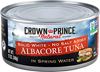 Crown Prince Natural Solid White Albacore Tuna in Spring Water, No Salt Added, 12-Ounce Cans (Pack of 12)