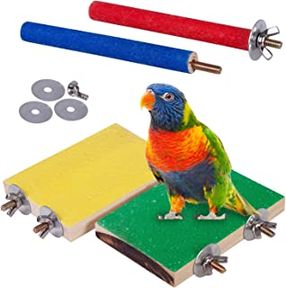 Petsvv 4 PCS Bird Perch Stand Toy, Wood Parrot Perch Stand Platform Paw Grinding Stick, Cage Accessories Exercise Toys Bud...