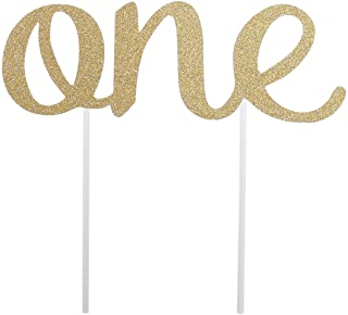 Cake Topper First Birthday One Birthday Cake Decorations Party Supplies (Golden)