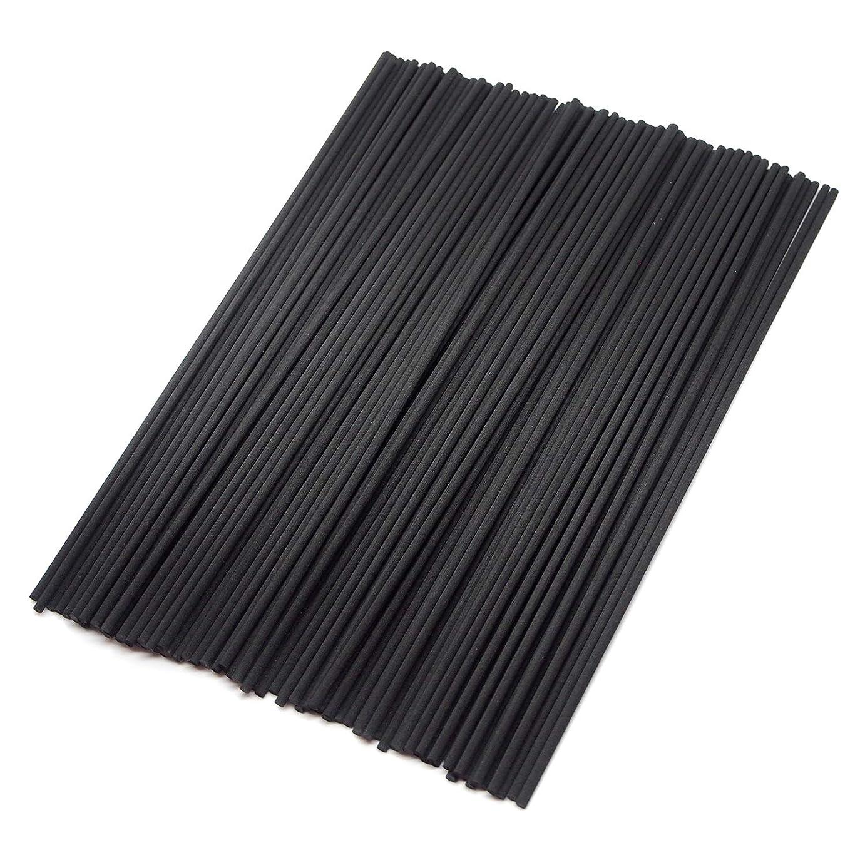 【Fiveten】 リードディフューザー用 ラタンスティック 標準サイズ アロマリード リフィル 100本 (ブラック)