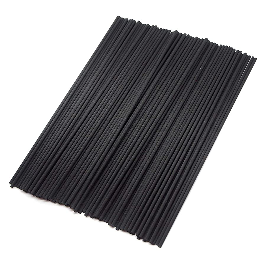 即席しばしば青【Fiveten】 リードディフューザー用 ラタンスティック 標準サイズ アロマリード リフィル 100本 (ブラック)