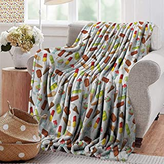XavieraDoherty Couch Blanket,Ice Cream,Frozen Desserts in Wafer Cone Glazed Eskimo with Whipped Cream Chocolate Sundae, Multicolor,Warm & Hypoallergenic Washable Couch/Bed Throws, Microfiber 30