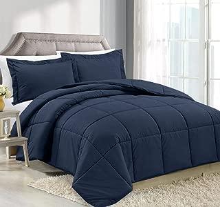 Clara Clark Luxury Down Alternative Comforter Set Hypoallergenic, Plush Siliconized Fiberfill, Box Stitched, Duvet Insert, Queen, Navy Blue