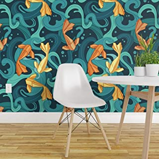 Spoonflower Peel and Stick Removable Wallpaper, Origami Goldfish Geometric Water Nature Koi Fish Print, Self-Adhesive Wallpaper 24in x 108in Roll