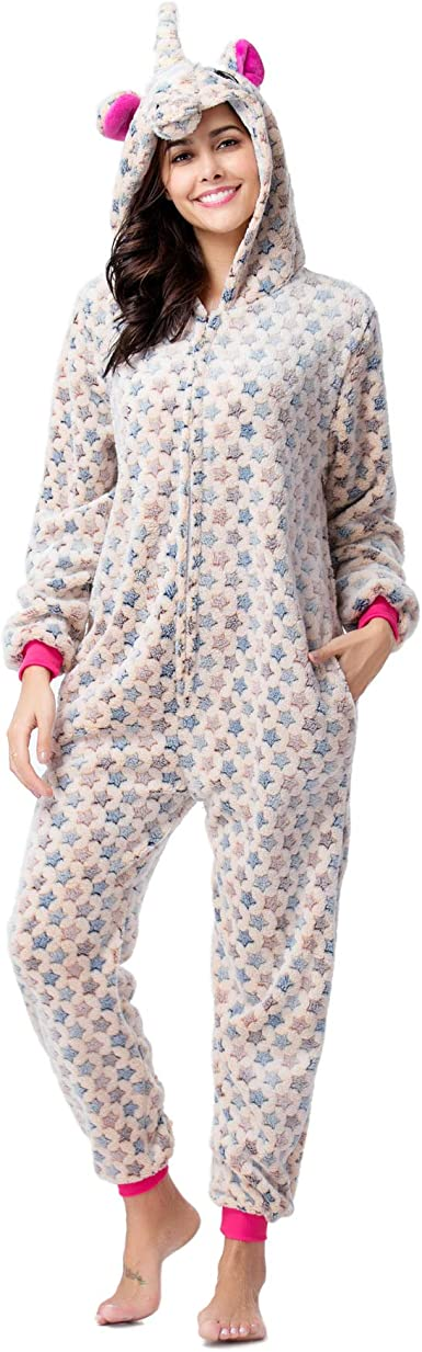 Adulto Pijama Unisex Animal Gris Unicornio Onesies Novedad ...