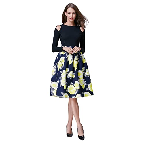 9db3b022fc1 HIKA Women s Retro High Elastic Waist Flare Pleated A-line Midi Skirt