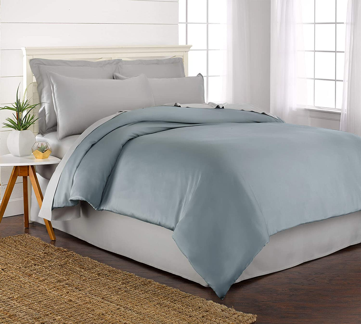 Pure Bamboo - King Duvet Cover Set - 100% Organic Bamboo - Luxuriously Soft (King, Sterling bluee)