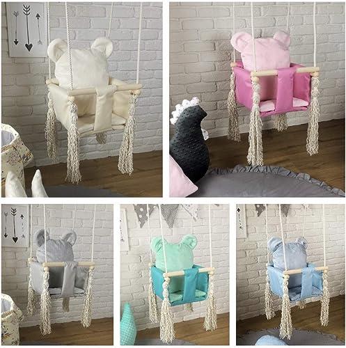 TS Babyschaukel Kinderschaukel Geschenk Babysitz Stoff Holz Haus Garten Teddyb (Rosa)