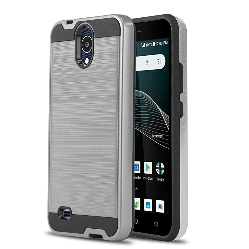 Phone Case for [AT&T AXIA (QS5509A) / Cricket Vision], [Protech Series][Silver] Shockproof Cover [Impact Resistant][Defender] for AT&T Axia (Prepaid Go Phone) & Cricket Vision