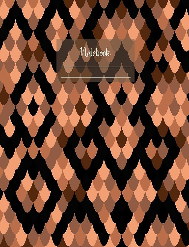 """庭園光沢疑い者Notebook: Composition Notebook. College ruled with soft matte cover. 120 Pages. Perfect for school notes, Ideal as a journal or a diary. 9.69"""" x 7.44"""". Great gift idea. (Snake skin brown black pattern cover)."""