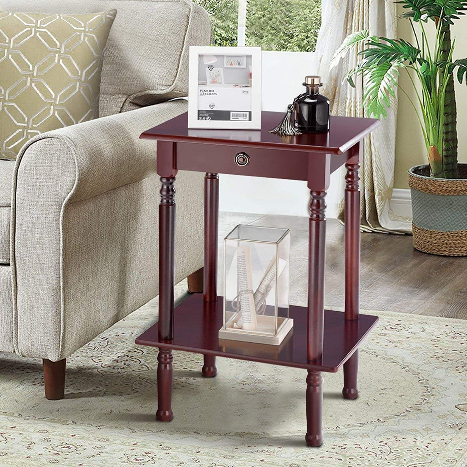 Tangkula End Table Tall Wood Side Table Accent Style Telephone Stand Table Home Office Furniture (Shelf)