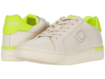COACH Lowline Low Top (Chalk/Neon Yellow Smooth Leather) Women