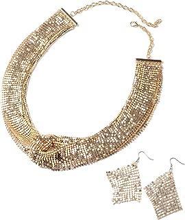 Hypoallergenic Silvertone Earrings Necklace Jewelry Gift Set for Women