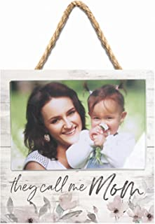 P. Graham Dunn They Call Me Mom Watercolor Floral White 7 x 7 Inch Wood Wall Hanging Photo Frame