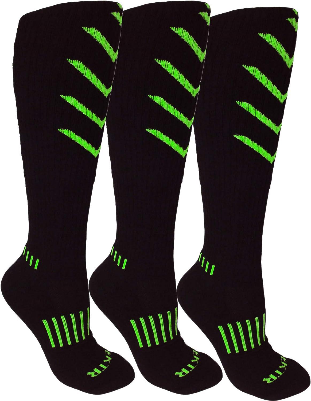 MOXY Socks Knee-High 3-Pack Black and Lime Green Ultimate VEKTR Premium Deadlift Fitness Socks