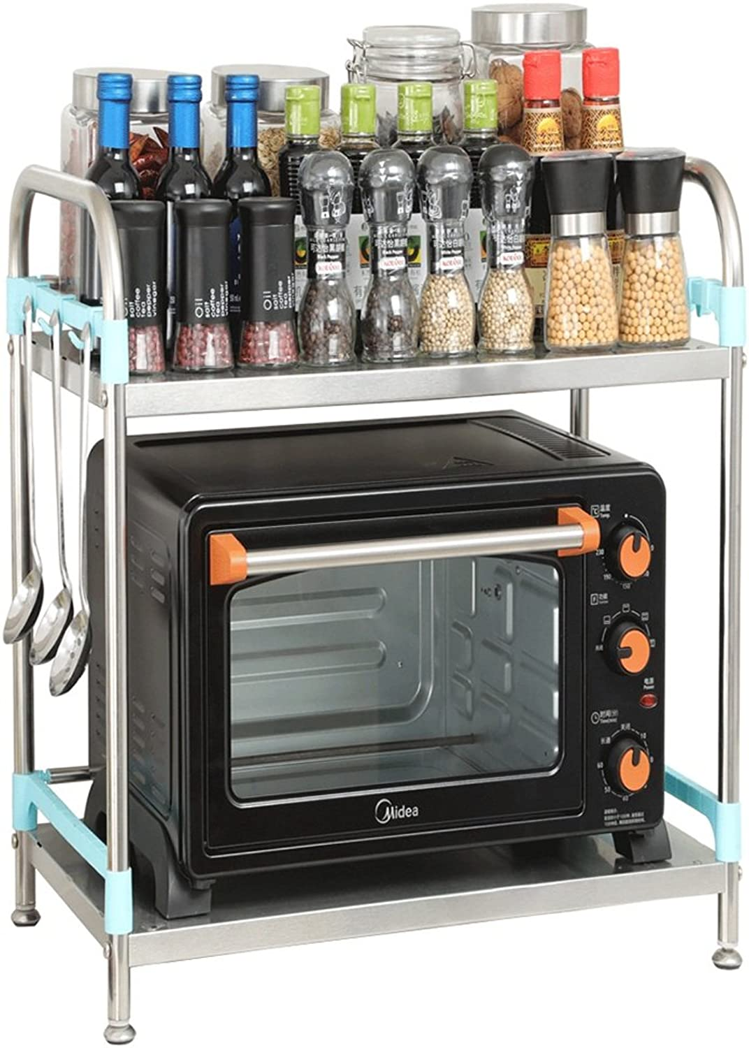 Kitchen Shelves - Stainless Steel Microwave Rack, Spices Rack, Oven Rack, Floor Storage Rack -by TIANTA (Size   40  35  53cm)