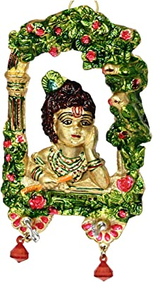 Handicrafts Paradise Lord Krishna in His Childhood with A Flute Hin His Hand Wall Hanging in Metal 7.5 Inches