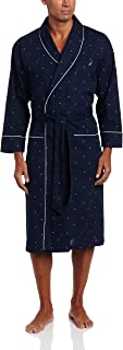 Nautica Men's Long Sleeve Lightweight Cotton Woven Robe