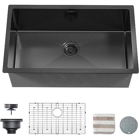 Lordear 30x22 Inch Kitchen Sink Drop In Gunmetal Matte Black 16 Gauge Stainless Steel Single Bowl Topmount Basin Amazon Com