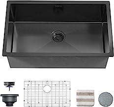TORVA 32 x 19 Inch Gloss Black Ceramic Coating with NanoTek Undermount Kitchen Sink, 16 Gauge Stainless Steel Wet Bar or P...