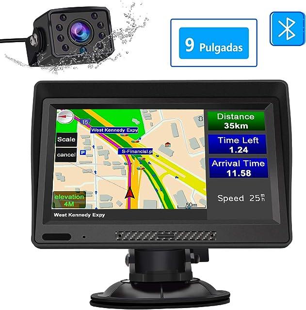 AWESAFE Navegador GPS para Camiones y Coches con Bluetooth y Cámara Trasera de 9 Pulgadas Pantalla LCD Multimedia con Actualizaciones de Mapas de Europa para Toda la Vida