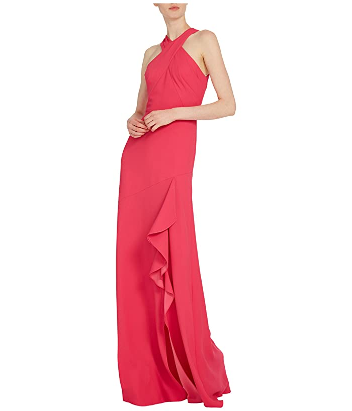ML Monique Lhuillier  Sleeveless Crepe Gown with Cross Front Neckline Ruffled Trim (Peony) Womens Dress