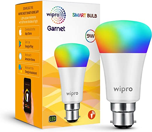 wipro Wi-Fi Enabled Smart LED Bulb B22 9-Watt (16 Million Colors +...