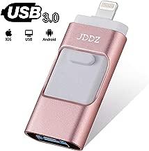 USB Flash Drives Compatible iPhone/iOS 128GB [3-in-1] Lightning OTG Jump Drive, JDDZ USB 3.0 Thumb Drive External USB Memory Storage, Flash Memory Stick Compatible Apple, iPad, Android & PC (Pink)