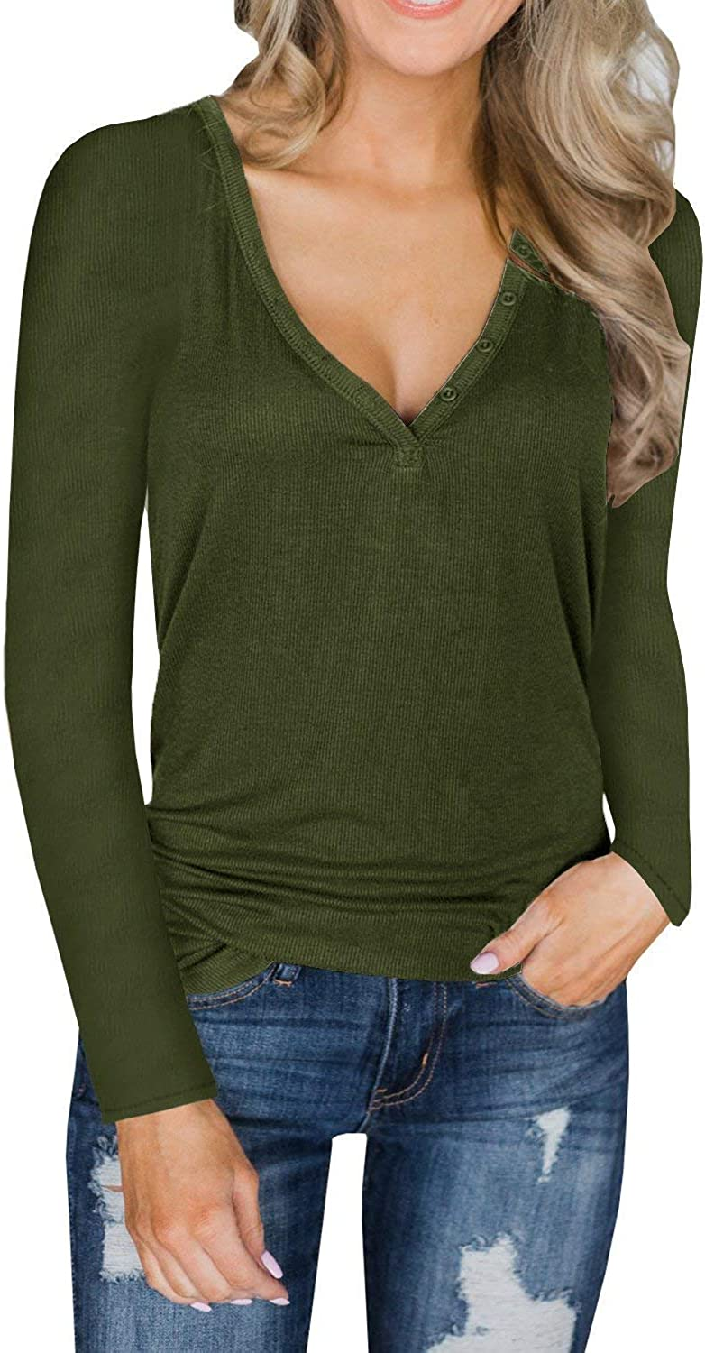Lateemore Womens Deep V Neck Long Sleeve Henley Shirts Button Up Knit Tunic Top Blouse