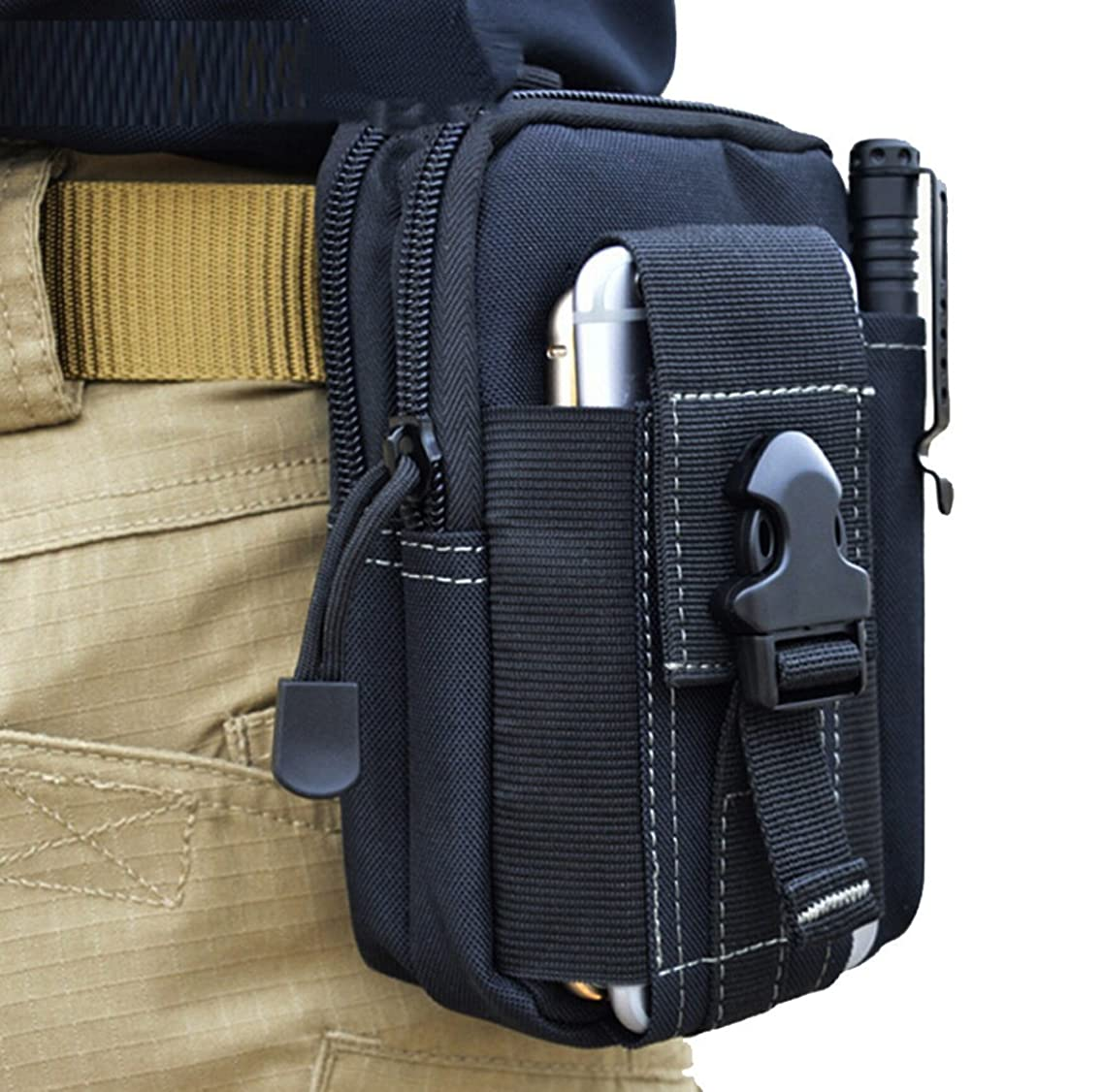 Willcomes Tactical Molle Multipurpose Compact Pouch Utility Gadget Belt Waist Bag Pocket Money Purse for Outdoor Sports with Cell Phone Holster