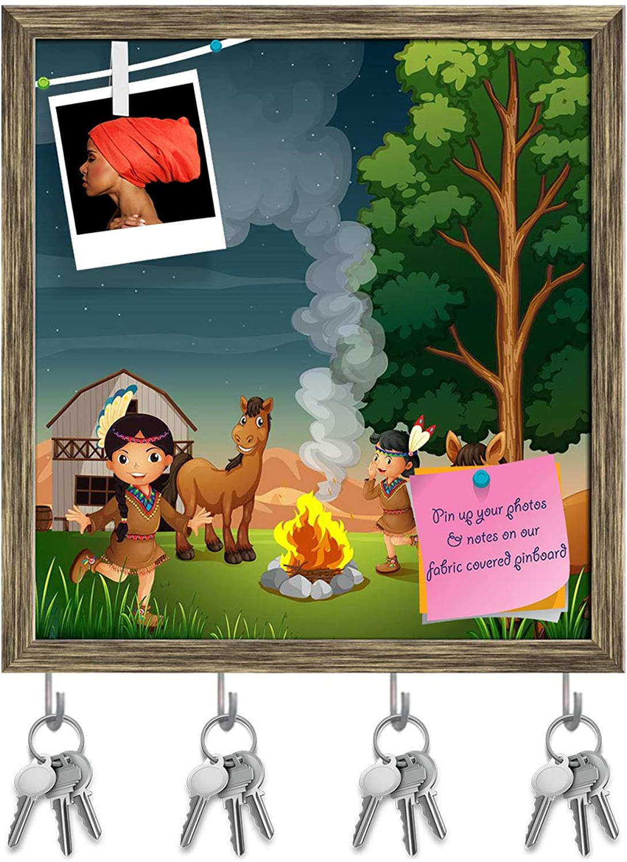 Artzfolio Farm with Indian Girls Key Holder Hooks   Notice Pin Board   Antique golden Frame 16 X 17.2Inch